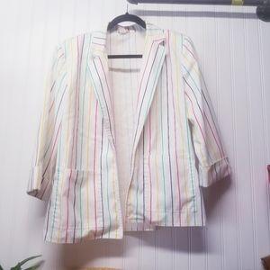 Vintage White Rainbow Striped Blazer Size Medium